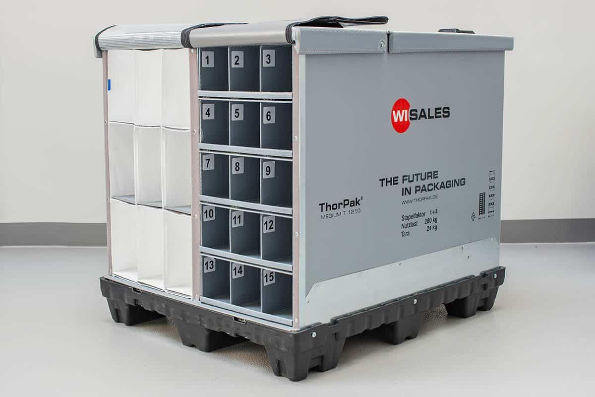 Faltbare Großladungsträger/Stahlgestelle zum Transport von empfindlichen Bauteilen. ThorPak® Systeme/Stahlgestelle in der Kombination mit Taschensystemen, Schaumeinlagen, Gefache, Textiltaschen, Tiefgezogene Zwischenlagen und Zahnleisten.